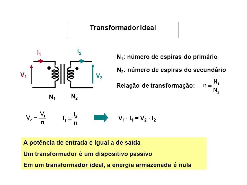 V1V1 V2V2 i1i1 i2i2 N1N1 N2N2 N 1 : número de espiras do primário N 2 : número de espiras do secundário Relação de transformação: V 1 · i 1 = V 2 · i