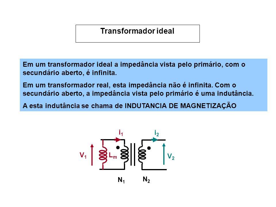 Em um transformador ideal a impedância vista pelo primário, com o secundário aberto, é infinita. Em um transformador real, esta impedância não é infin