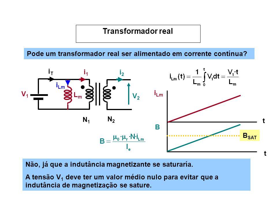 Pode um transformador real ser alimentado em corrente contínua? V1V1 V2V2 N1N1 N2N2 i1i1 i2i2 LmLm i Lm iTiT t B SAT B t Não, já que a indutância magn