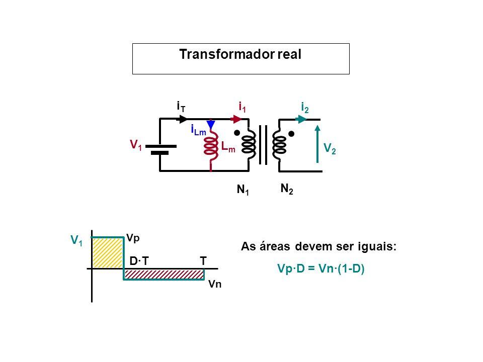 V1V1 V2V2 N1N1 N2N2 i1i1 i2i2 LmLm i Lm iTiT V1V1 T D·T Vp Vn As áreas devem ser iguais: Vp·D = Vn·(1-D)