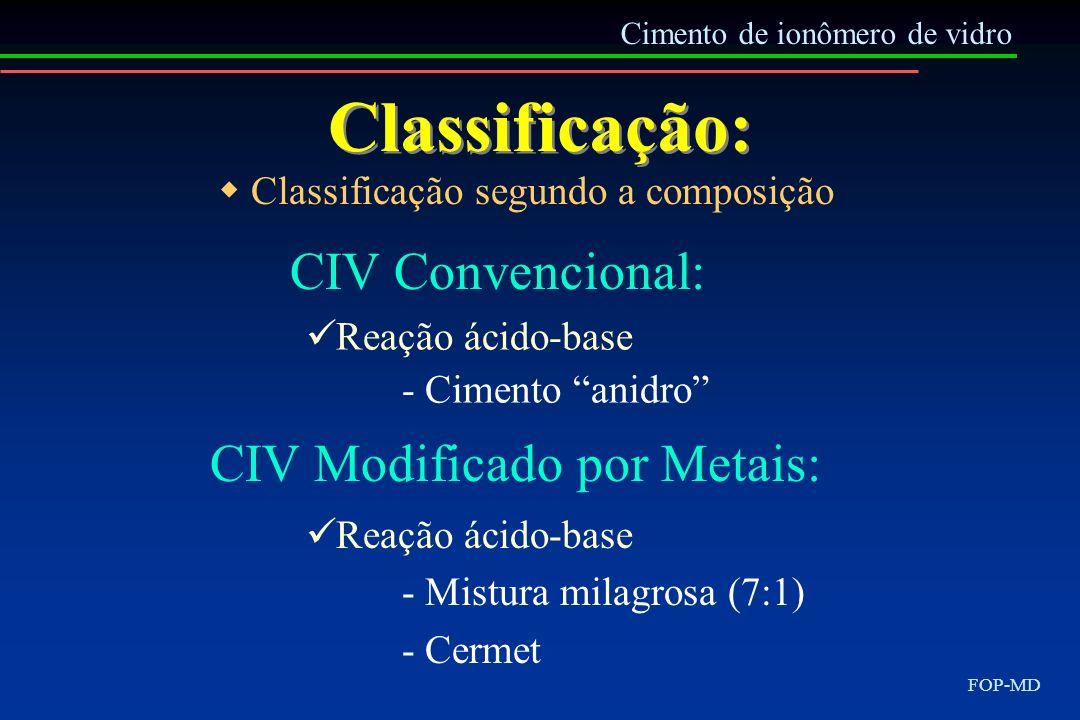 Classificação: Cimento de ionômero de vidro FOP-MD CIV Convencional: Classificação segundo a composição Reação ácido-base - Cimento anidro CIV Modific