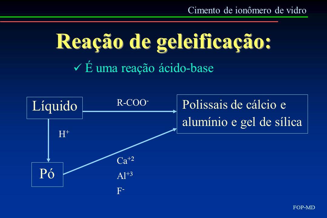 Reação de geleificação: Líquido Cimento de ionômero de vidro FOP-MD É uma reação ácido-base Pó H+H+ R-COO - Ca +2 Al +3 F - Polissais de cálcio e alum
