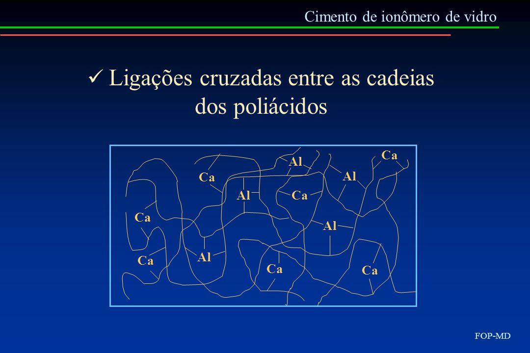 Cimento de ionômero de vidro FOP-MD Al Ca Al Ca Ligações cruzadas entre as cadeias dos poliácidos