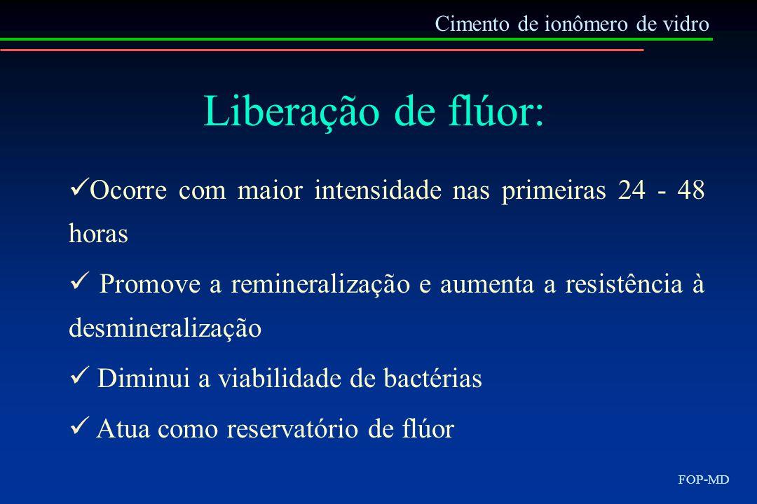 Cimento de ionômero de vidro FOP-MD Liberação de flúor: Ocorre com maior intensidade nas primeiras 24 - 48 horas Promove a remineralização e aumenta a