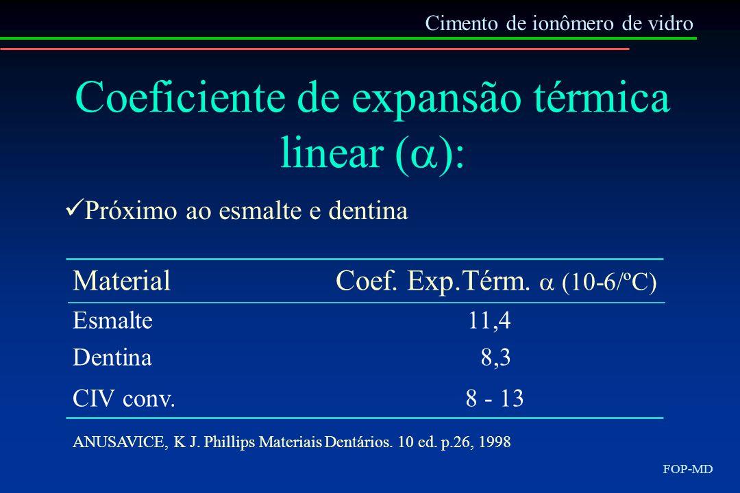 Cimento de ionômero de vidro FOP-MD Coeficiente de expansão térmica linear ( ): Próximo ao esmalte e dentina MaterialCoef. Exp.Térm. (10-6/ºC) Esmalte
