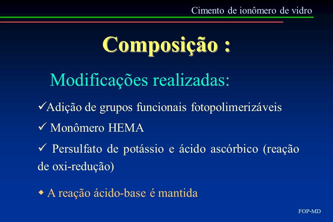 Cimento de ionômero de vidro FOP-MD Composição : Adição de grupos funcionais fotopolimerizáveis Monômero HEMA Persulfato de potássio e ácido ascórbico