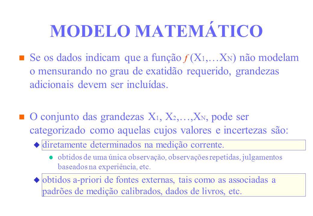 Se os dados indicam que a função f (X 1,…X N ) não modelam o mensurando no grau de exatidão requerido, grandezas adicionais devem ser incluídas. O con