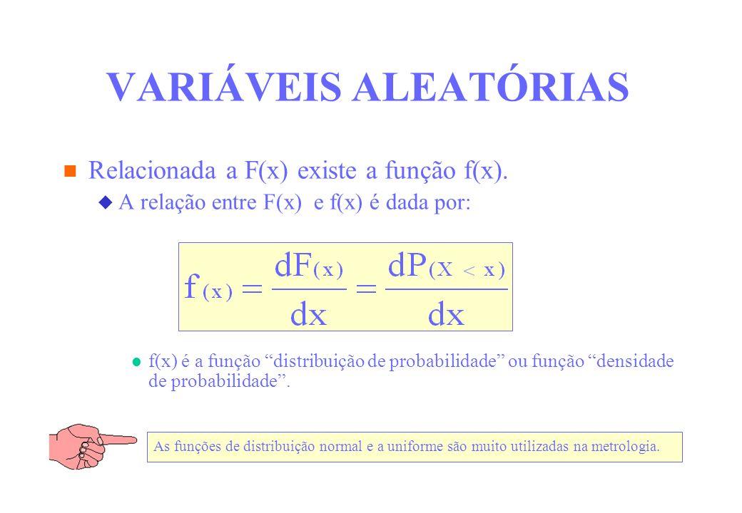 VARIÁVEIS ALEATÓRIAS Relacionada a F(x) existe a função f(x). A relação entre F(x) e f(x) é dada por: f(x) é a função distribuição de probabilidade ou