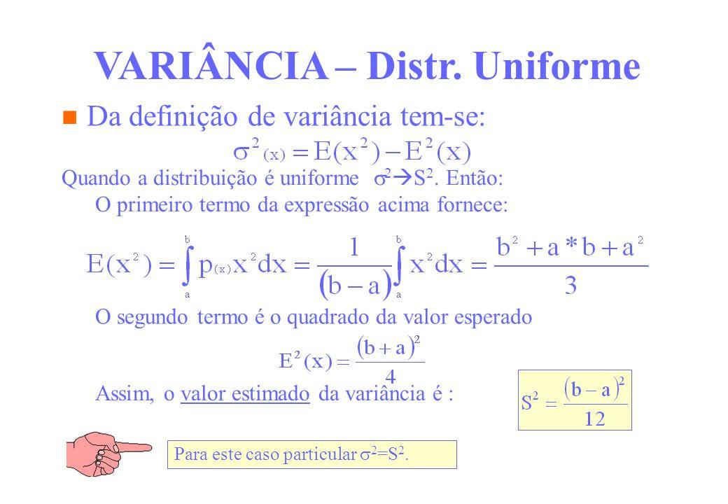 Da definição de variância tem-se: VARIÂNCIA – Distr. Uniforme Quando a distribuição é uniforme 2 S 2. Então: O primeiro termo da expressão acima forne