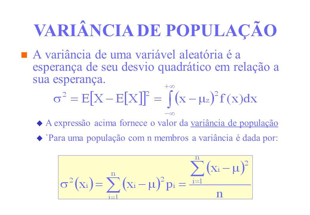 A variância de uma variável aleatória é a esperança de seu desvio quadrático em relação a sua esperança. VARIÂNCIA DE POPULAÇÃO A expressão acima forn