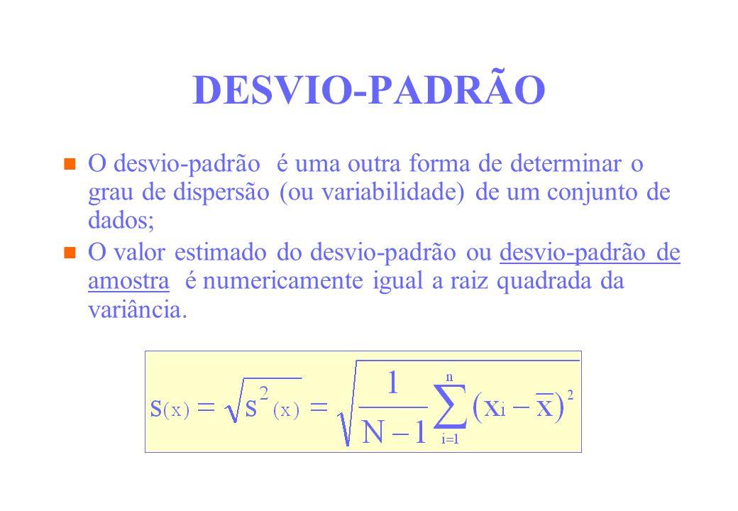 DESVIO-PADRÃO desvio-padrão é uma outra forma de determinar o grau de dispersão (ou variabilidade) de um conjunto de dados; O valor estimado do desvio