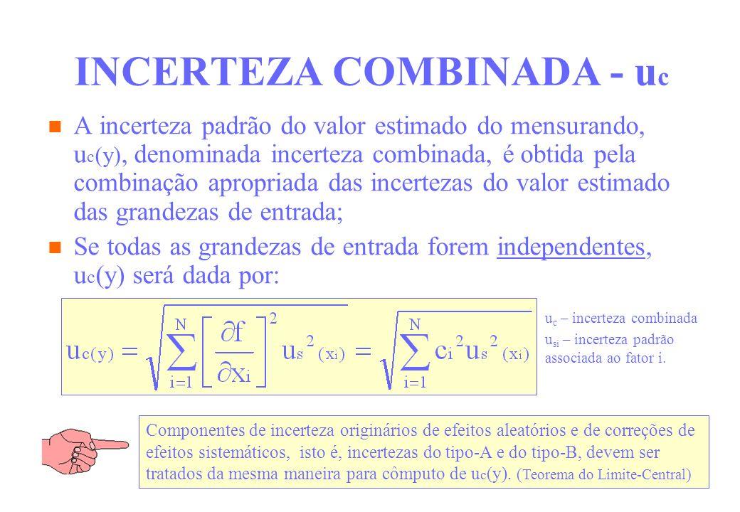INCERTEZA COMBINADA - u c A incerteza padrão do valor estimado do mensurando, u c (y), denominada incerteza combinada, é obtida pela combinação apropr