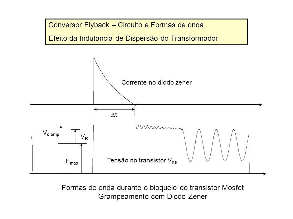 Conversor Flyback – Circuito e Formas de onda Efeito da Indutancia de Dispersão do Transformador E max VRVR V clamp t Corrente no diodo zener Tensão n