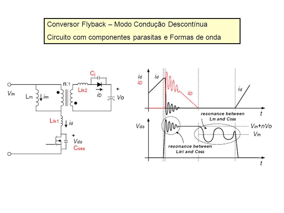 Conversor Flyback – Modo Condução Descontínua Circuito com componentes parasitas e Formas de onda Existem duas ressonâncias: 1.