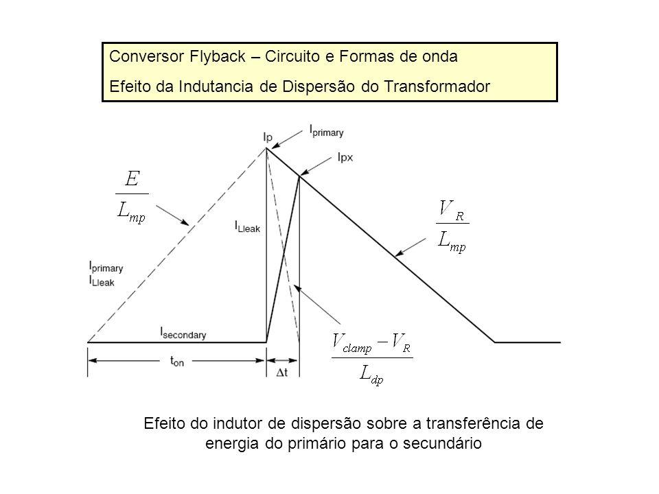 Conversor Flyback – Circuito e Formas de onda Efeito da Indutancia de Dispersão do Transformador Efeito do indutor de dispersão sobre a transferência