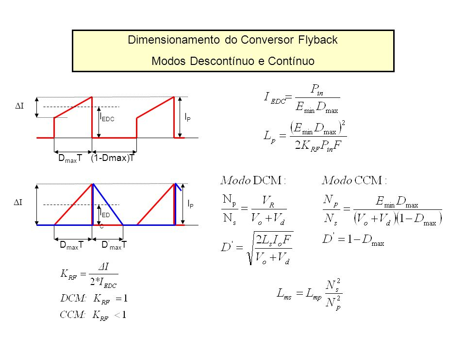 Dimensionamento do Conversor Flyback Modos Descontínuo e Contínuo I I ED C D max T IPIP I I EDC D max T(1-Dmax)T IPIP