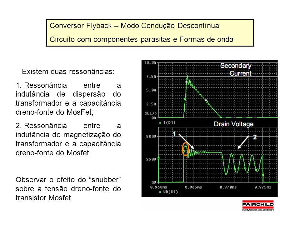 Conversor Flyback – Modo Condução Descontínua Circuito com componentes parasitas e Formas de onda Existem duas ressonâncias: 1. Ressonância entre a in