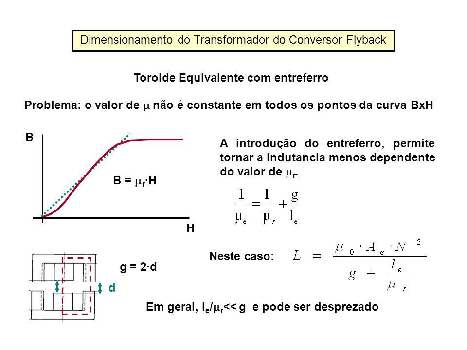 Problema: o valor de não é constante em todos os pontos da curva BxH H B B = r ·H A introdução do entreferro, permite tornar a indutancia menos depend