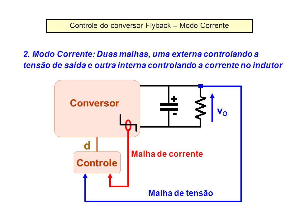 Controle do conversor Flyback – Modo Corrente 2. Modo Corrente: Duas malhas, uma externa controlando a tensão de saída e outra interna controlando a c