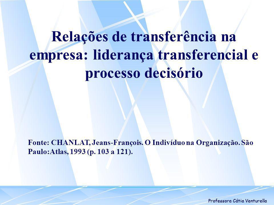 Professora Cátia Venturella Relações de transferência na empresa: liderança transferencial e processo decisório Fonte: CHANLAT, Jeans-François. O Indi