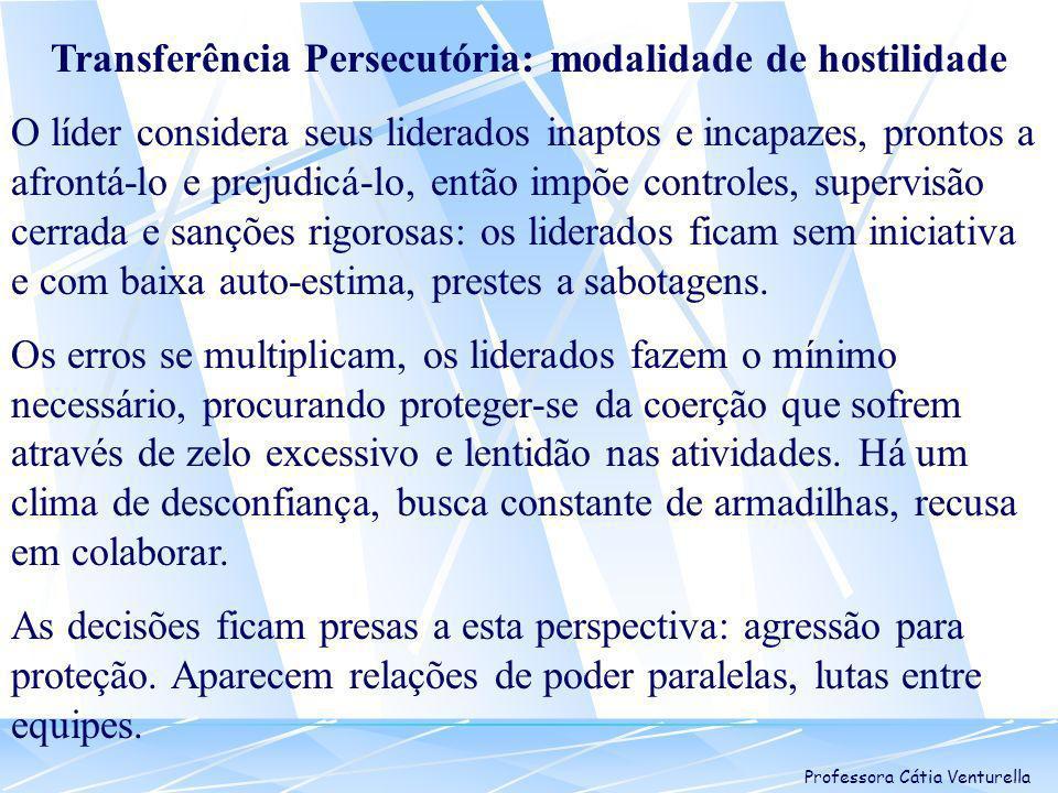 Professora Cátia Venturella Transferência Persecutória: modalidade de hostilidade O líder considera seus liderados inaptos e incapazes, prontos a afro
