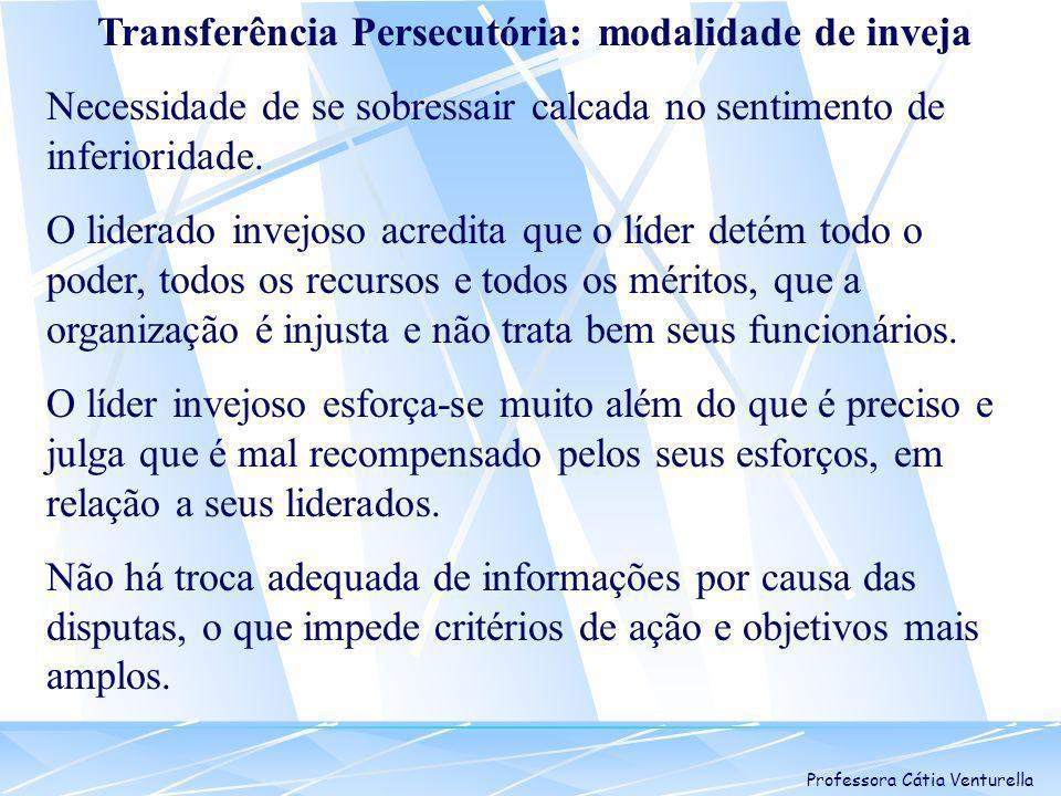 Professora Cátia Venturella Transferência Persecutória: modalidade de inveja Necessidade de se sobressair calcada no sentimento de inferioridade. O li