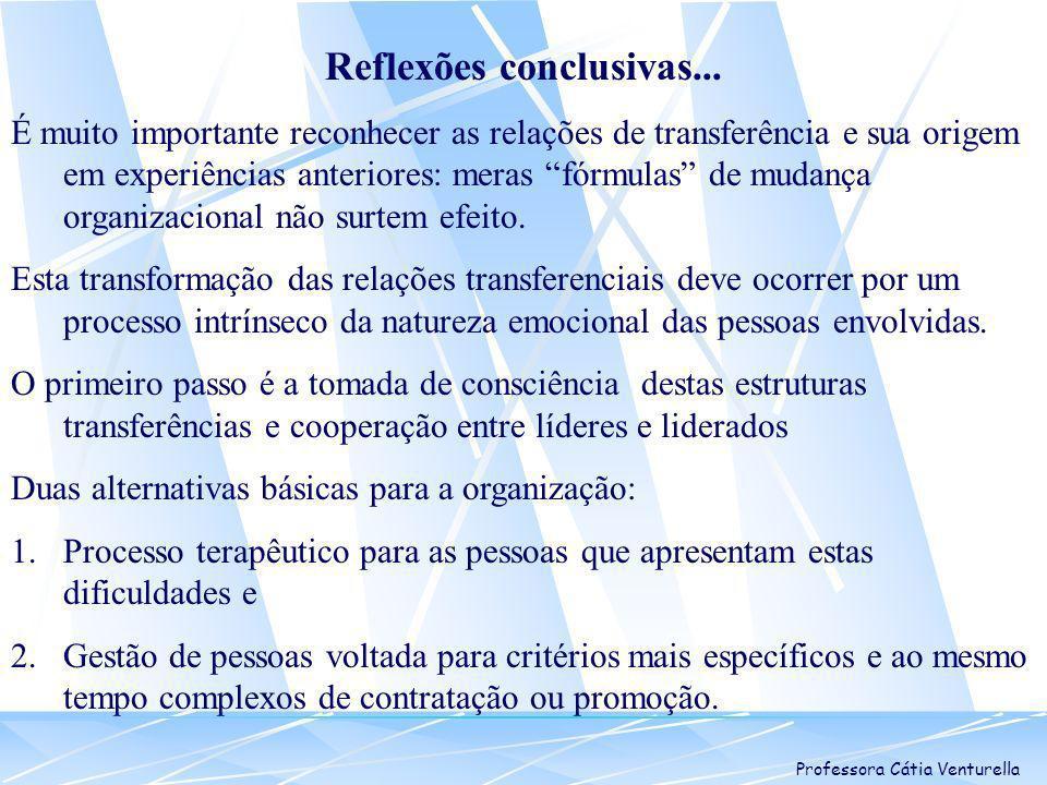 Professora Cátia Venturella Reflexões conclusivas... É muito importante reconhecer as relações de transferência e sua origem em experiências anteriore