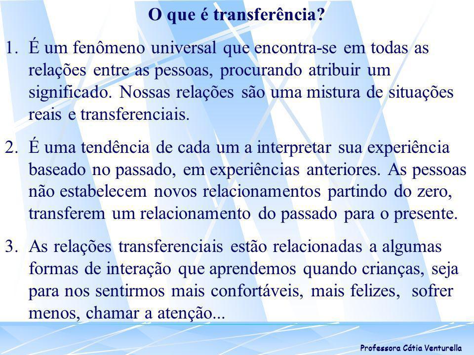 Professora Cátia Venturella Transferência Persecutória: modalidade de inveja Necessidade de se sobressair calcada no sentimento de inferioridade.