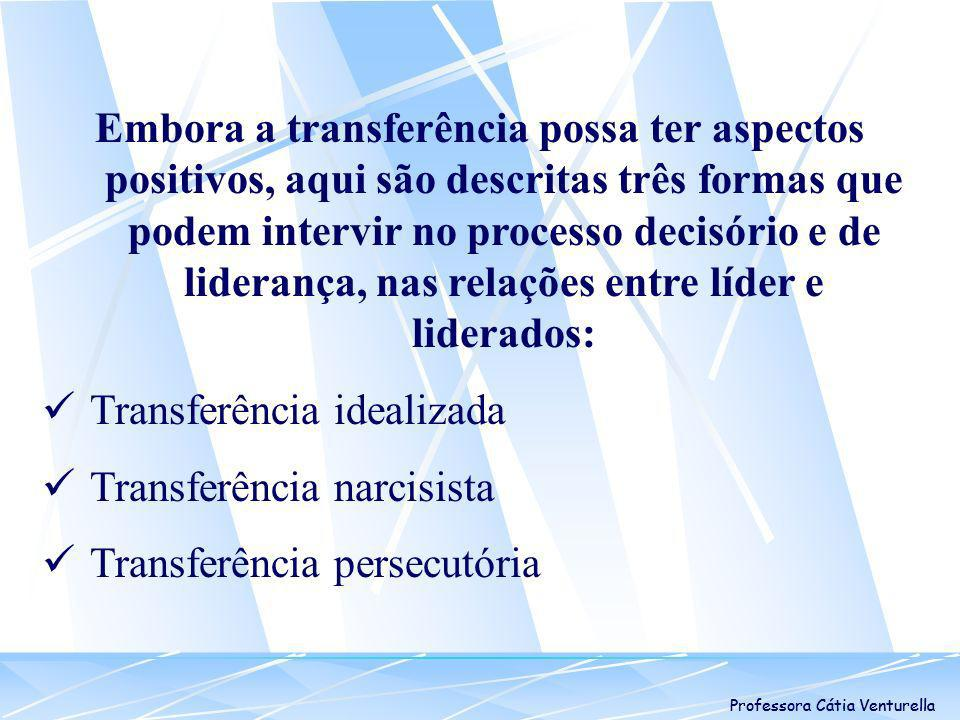 Professora Cátia Venturella Transferência Idealizada Consiste na vivência de emoções de uma fase bastante precoce do desenvolvimento pessoal.