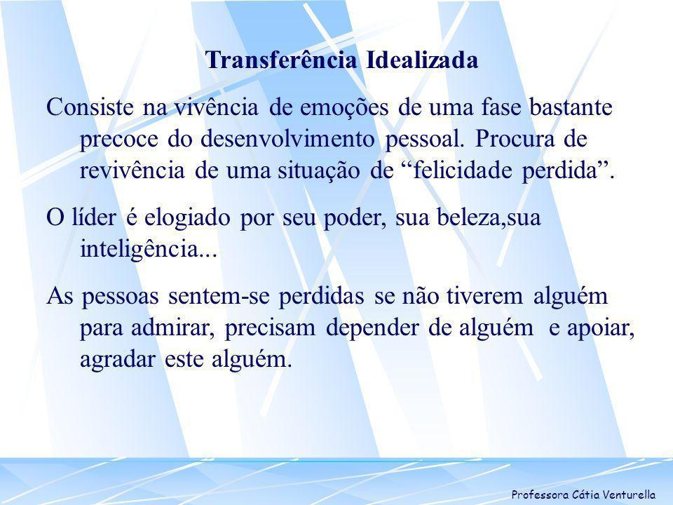 Professora Cátia Venturella Transferência Idealizada Consiste na vivência de emoções de uma fase bastante precoce do desenvolvimento pessoal. Procura