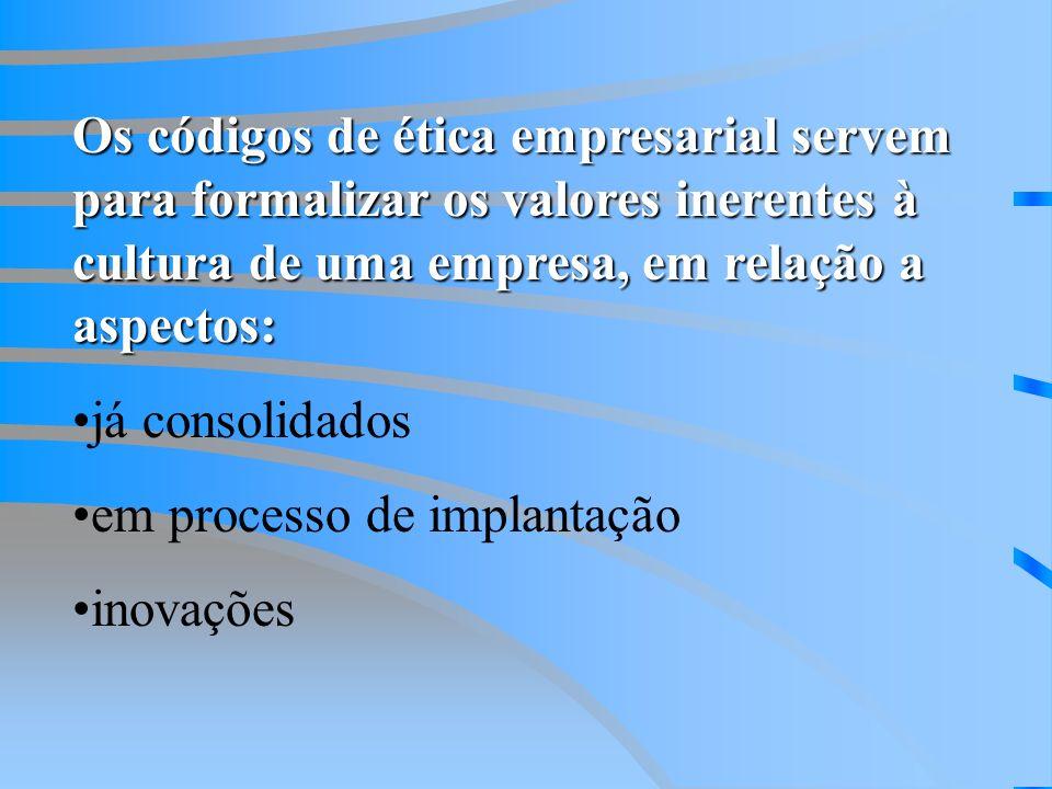 Os códigos de ética empresarial servem para formalizar os valores inerentes à cultura de uma empresa, em relação a aspectos: já consolidados em processo de implantação inovações