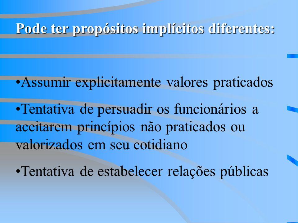 Pode ter propósitos implícitos diferentes: Assumir explicitamente valores praticados Tentativa de persuadir os funcionários a aceitarem princípios não