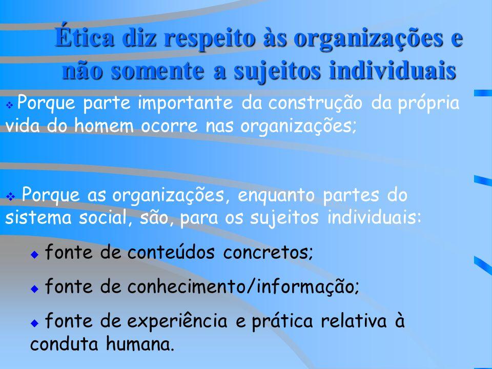 Ética diz respeito às organizações e não somente a sujeitos individuais Porque parte importante da construção da própria vida do homem ocorre nas organizações; Porque as organizações, enquanto partes do sistema social, são, para os sujeitos individuais: fonte de conteúdos concretos; fonte de conhecimento/informação; fonte de experiência e prática relativa à conduta humana.