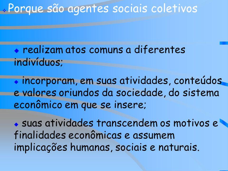 Porque são agentes sociais coletivos realizam atos comuns a diferentes indivíduos; incorporam, em suas atividades, conteúdos e valores oriundos da soc