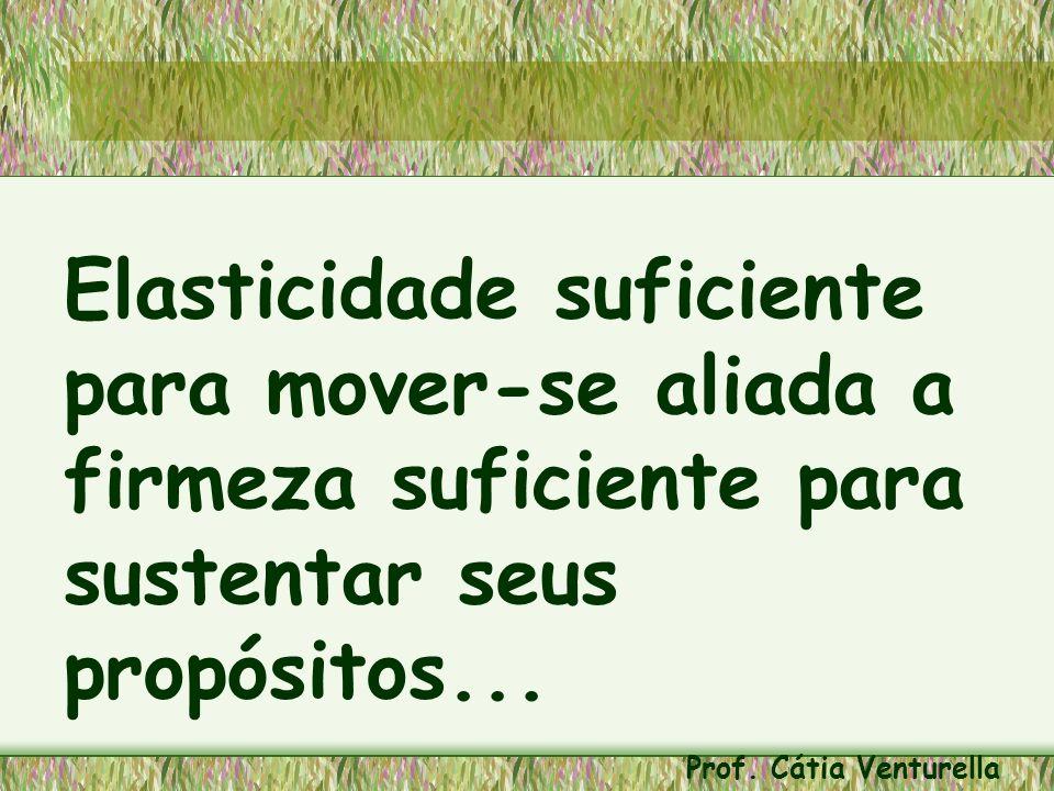 Elasticidade suficiente para mover-se aliada a firmeza suficiente para sustentar seus propósitos... Prof. Cátia Venturella