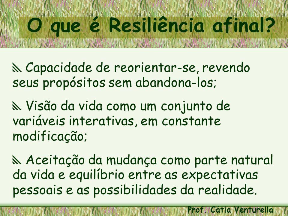 As cinco características básicas da resiliência são: ¦Positividade ¦Foco ¦Flexibilidade ¦Organização Pró-ação Prof.