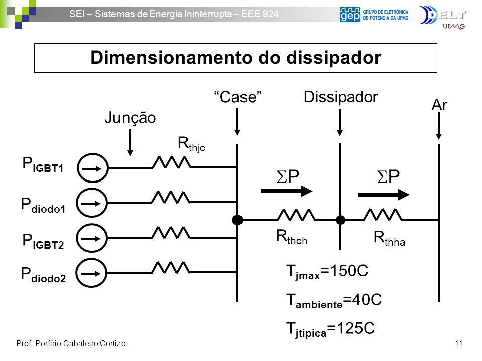 SEI – Sistemas de Energia Ininterrupta – EEE 924 Prof. Porfírio Cabaleiro Cortizo 11 Dimensionamento do dissipador Ar R thjc Junção Case Dissipador R