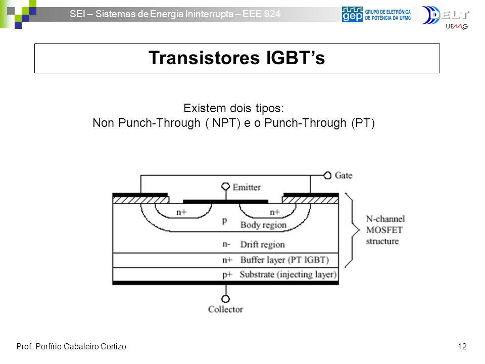 SEI – Sistemas de Energia Ininterrupta – EEE 924 Prof. Porfírio Cabaleiro Cortizo 12 Transistores IGBTs Existem dois tipos: Non Punch-Through ( NPT) e