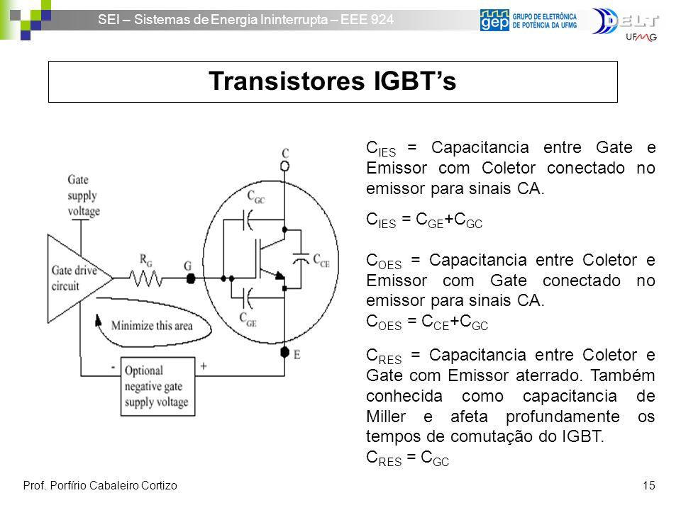 SEI – Sistemas de Energia Ininterrupta – EEE 924 Prof. Porfírio Cabaleiro Cortizo 15 Transistores IGBTs C IES = Capacitancia entre Gate e Emissor com