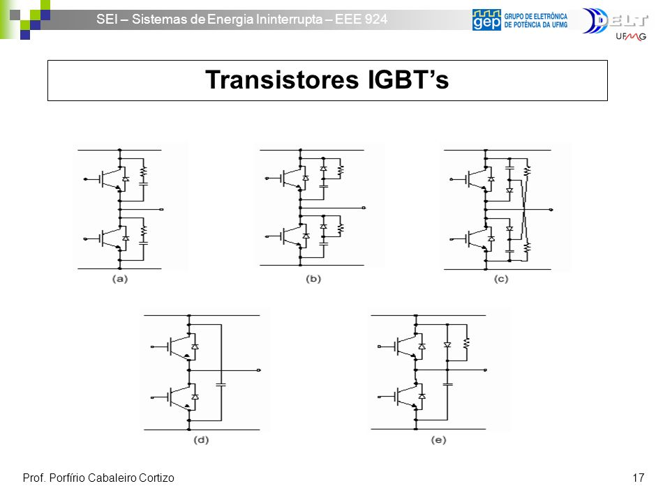 SEI – Sistemas de Energia Ininterrupta – EEE 924 Prof. Porfírio Cabaleiro Cortizo 17 Transistores IGBTs