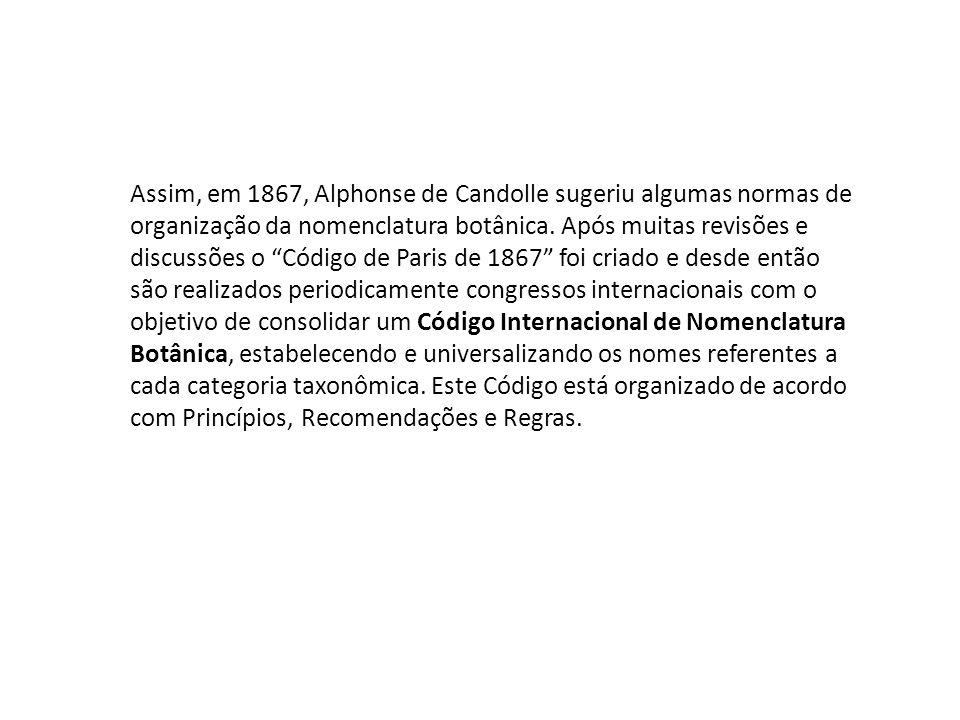 Assim, em 1867, Alphonse de Candolle sugeriu algumas normas de organização da nomenclatura botânica. Após muitas revisões e discussões o Código de Par