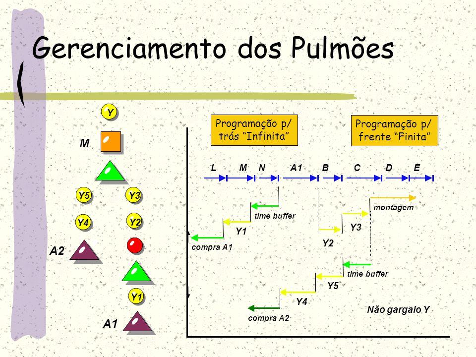 . Gerenciamento dos Pulmões BA1NMLCDE compra A1 Y1 time buffer Y2 Y3 montagem time buffer Y5 Y4 compra A2 Não gargalo Y Programação p/ frente Finita P