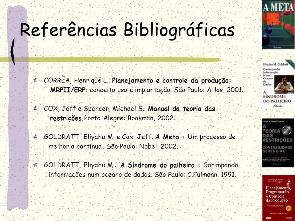 CORRÊA, Henrique L.. Planejamento e controle da produção: MRPII/ERP: conceito uso e implantação. São Paulo: Atlas, 2001. COX, Jeff e Spencer, Michael