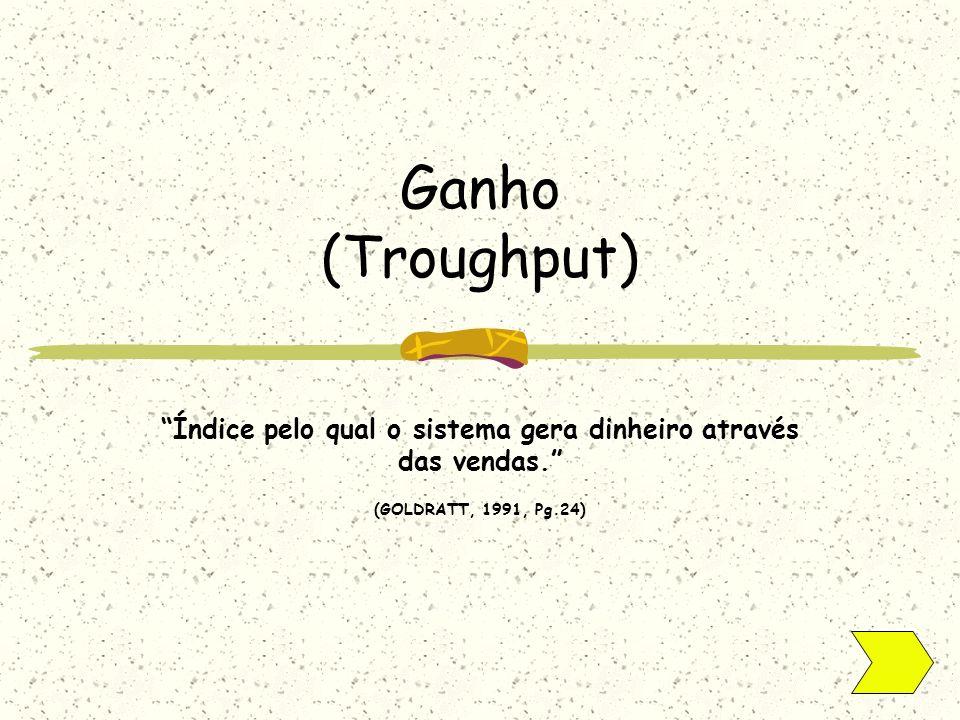 Ganho (Troughput) Índice pelo qual o sistema gera dinheiro através das vendas. (GOLDRATT, 1991, Pg.24)