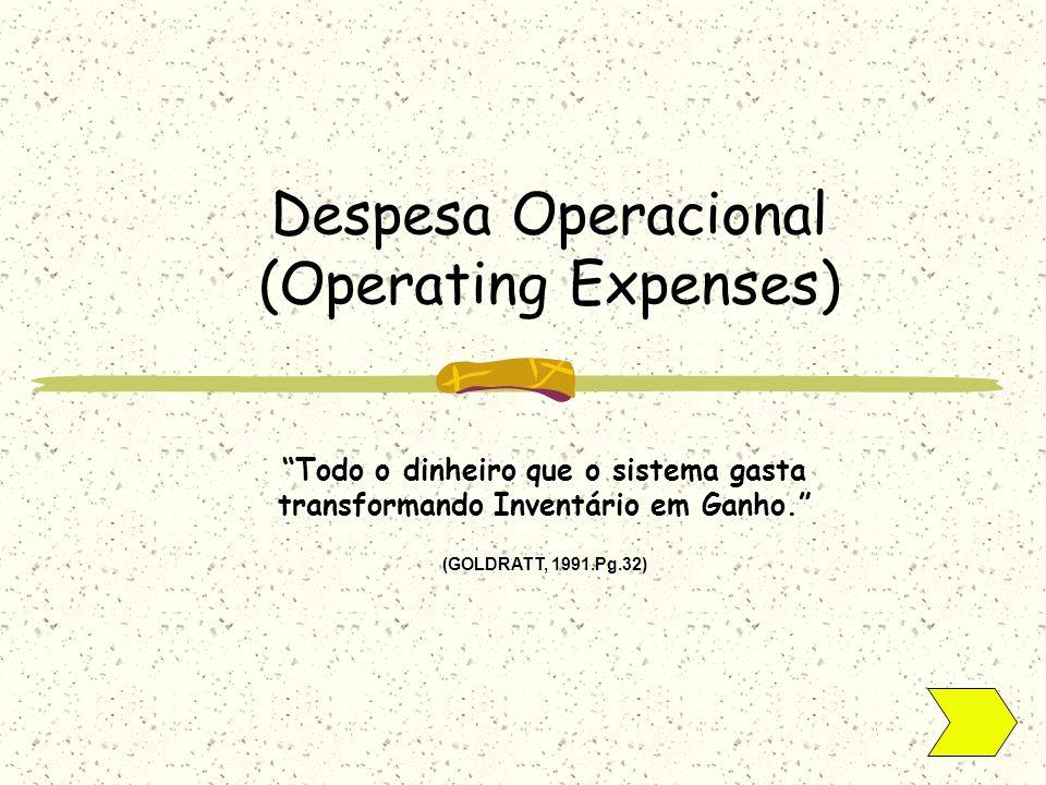 Todo o dinheiro que o sistema gasta transformando Inventário em Ganho. (GOLDRATT, 1991.Pg.32) Despesa Operacional (Operating Expenses)