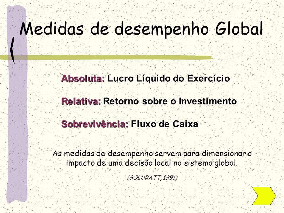Medidas de desempenho Global Absoluta: Lucro Líquido do Exercício Relativa: Retorno sobre o Investimento Sobrevivência: Fluxo de Caixa As medidas de d