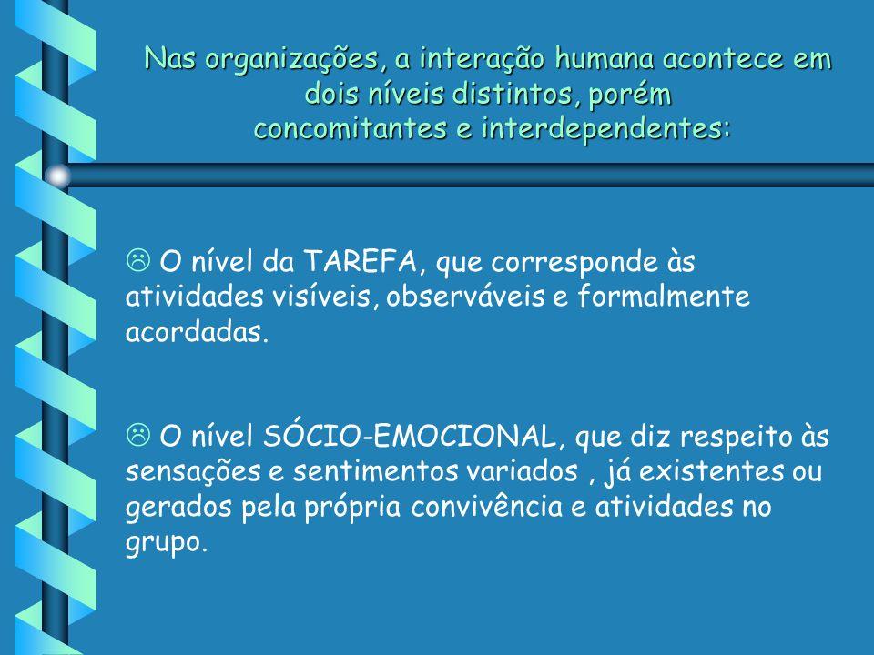 Nas organizações, a interação humana acontece em dois níveis distintos, porém concomitantes e interdependentes: L O nível da TAREFA, que corresponde às atividades visíveis, observáveis e formalmente acordadas.