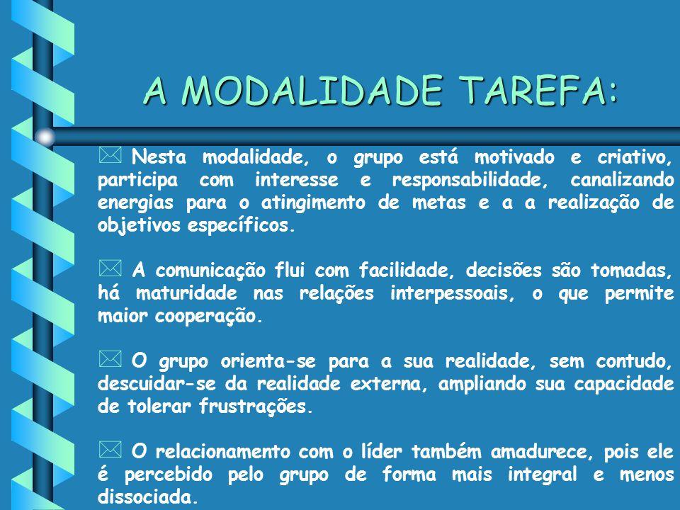 A MODALIDADE TAREFA: * Nesta modalidade, o grupo está motivado e criativo, participa com interesse e responsabilidade, canalizando energias para o atingimento de metas e a a realização de objetivos específicos.