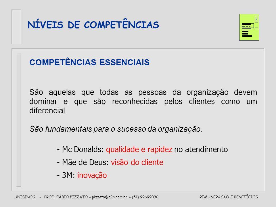 UNISINOS - PROF. FÁBIO PIZZATO – pizzato@p2n.com.br – (51) 99699036REMUNERAÇÃO E BENEFÍCIOS NÍVEIS DE COMPETÊNCIAS COMPETÊNCIAS ESSENCIAIS São aquelas