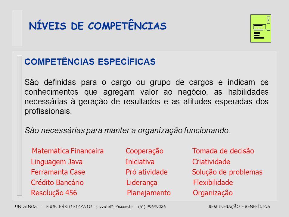 UNISINOS - PROF. FÁBIO PIZZATO – pizzato@p2n.com.br – (51) 99699036REMUNERAÇÃO E BENEFÍCIOS NÍVEIS DE COMPETÊNCIAS COMPETÊNCIAS ESPECÍFICAS São defini